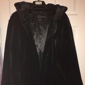 Pamela McCoy Black Faux Fur Mink Short Coat 1X
